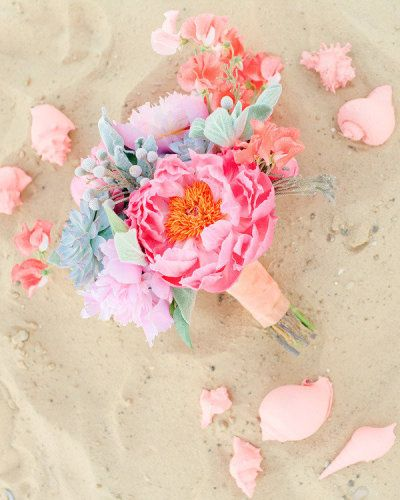 beach bouquet: mint succulents, coral charm peony, lambs ear, silver brunia, coral sweet pea. Photography by Ben Q. Photography / benqphotography.com, Event Coordination by After Yes Weddings / afteryesweddings.com, Floral Design by Bows + Arrows / bowsandarrowsdeluxe.com