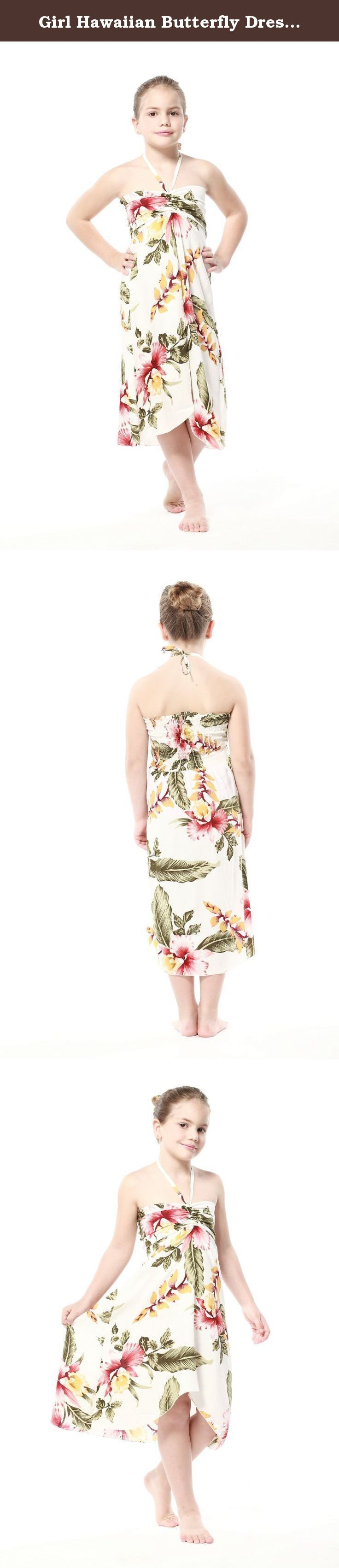 Girl Hawaiian Butterfly Dress in Cream Rafelsia Size 2. A beautiful Hawaiian print that is perfect for vacation, cruise, luau or Hawaiian themed party or wedding celebration.
