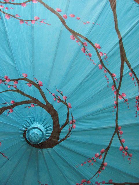 Turquoise cherry blossom wagasa