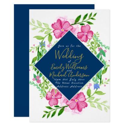 BLUE Watercolor Floral Wedding Invite Elegant - gold wedding gifts customize marriage diy unique golden