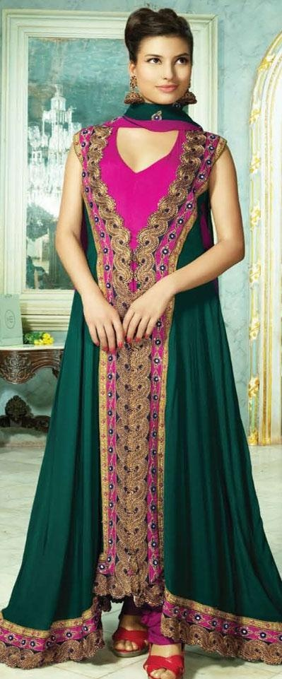 $112.65 Green Sleeveless Georgette Long Anarkali Salwar Kameez 18791