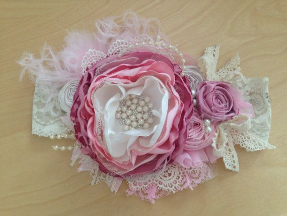 Bella Rose over the top headband/couture by ChloeRoseCouture