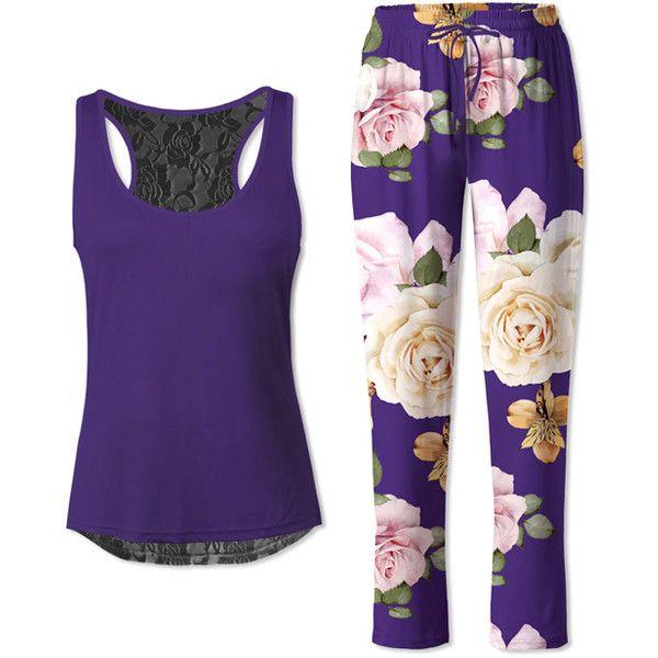 Sunshine Dream Dark Purple Floral Lace-Back Pajama Set ($22) ❤ liked on Polyvore featuring intimates, sleepwear, pajamas, plus size, womens plus size pajamas, women's plus size pajama sets, floral pyjamas, women's plus size sleepwear and plus size pyjamas