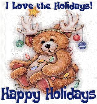 Cute Bear I Love Holidays Greeting Card of Happy Holidays
