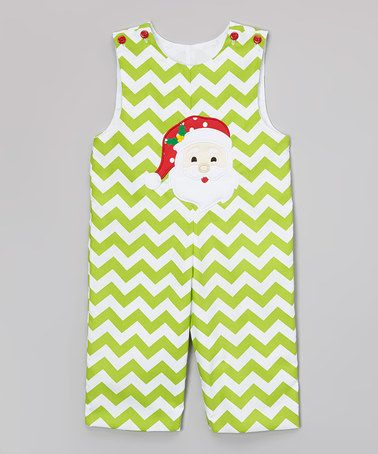 Green Chevron Santa Appliqué Overalls - Infant by BeMine