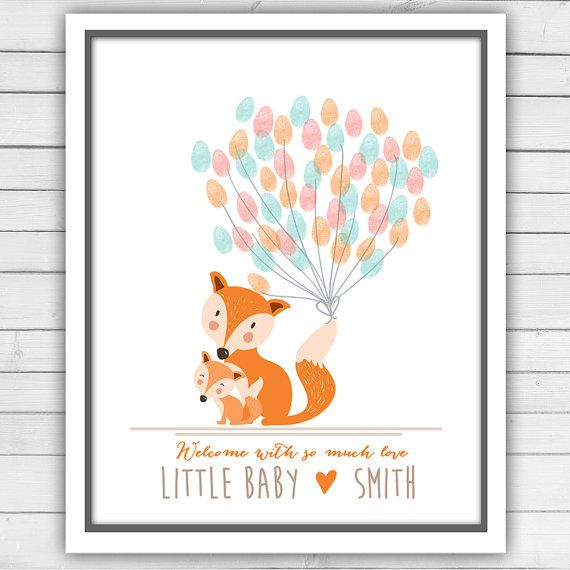 Fox Baby shower guestbook thumbprint by Anietillustration on Etsy