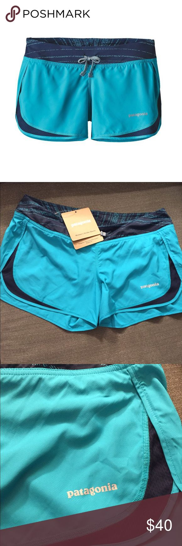 Patagonia Women's Strider Shorts Size Small Blue Ultralight, fast-drying, 100% polyester with completely breathable 100% polyester (50% recycled) airflow mesh. Body fabric treated with a DWR (durable water repellent) finish. Flat-knit elastic waistband with external drawcord. Internal drop-in pocket at back hip. Lightweight, built-in 100% microdenier polyester crepe liner wicks, dries quickly and provides chafe-free comfort; with Polygiene® permanent odor control. Reflective logo on left…