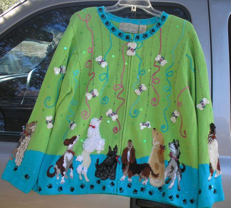 Adorable Design Options Philip & Jane Beaded Dogs Bones Cardigan Sweater sz 1X #DesignOptions #Cardigan