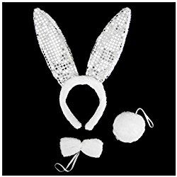 SeasonsTrading White Plush Sequin Bunny Ears Costume Set ~ Halloween Rabbit Kit Halloween Costume
