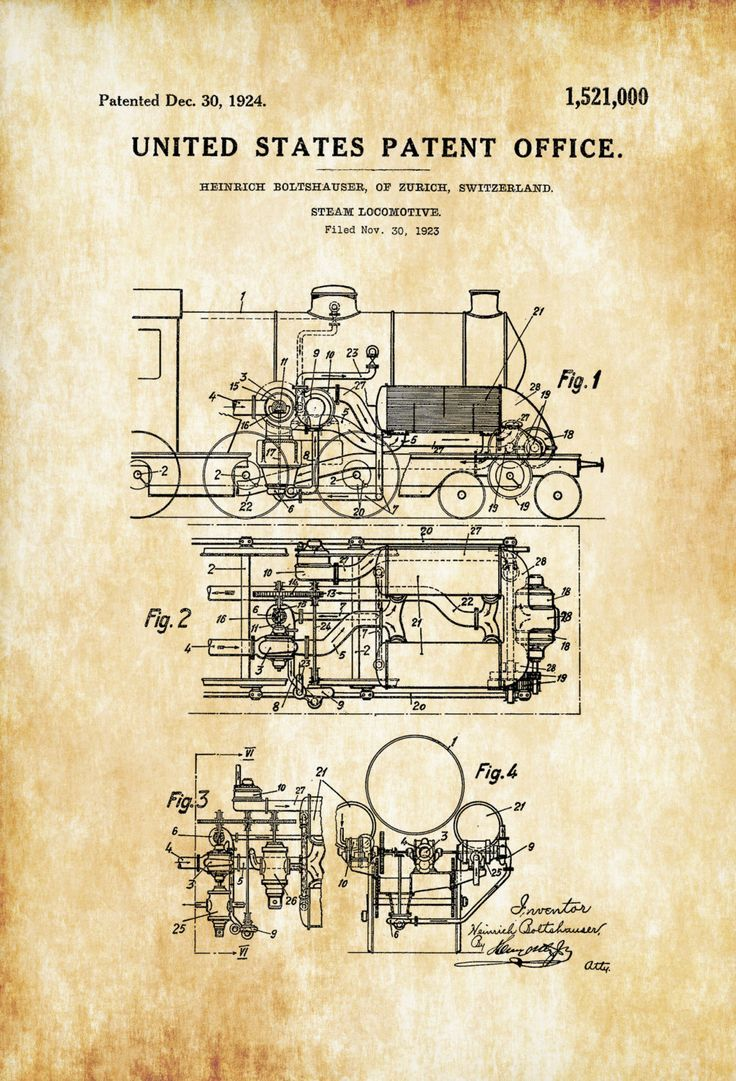 Patent print poster of a Steam Locomotive invented and designed by Heinrich Boltshauser. The patent was issued by the United States Patent Office on December 30, 1924.Patent prints allow you to have a…MoreMore