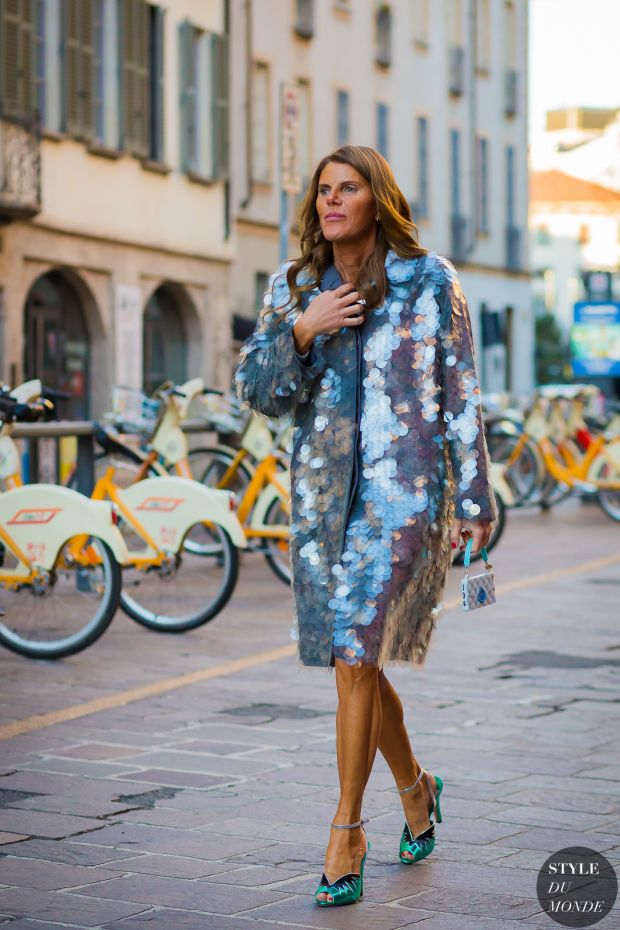 Anna Dello Russo in a Prada coat and Miu Miu shoes.