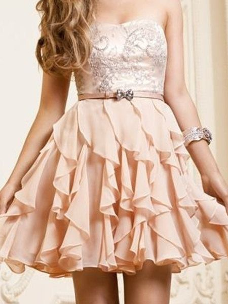Embriodery Pearl Pink A-line Scopp Neckline Mini Prom dress, Homecoming Dress, back to school dress