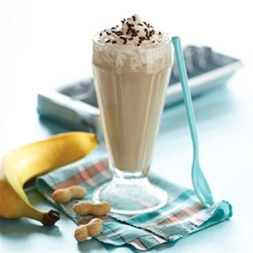 Banana Peanut Butter Smoothie 1/2 cup milk 1 small ripe banana 1/4 cup ...
