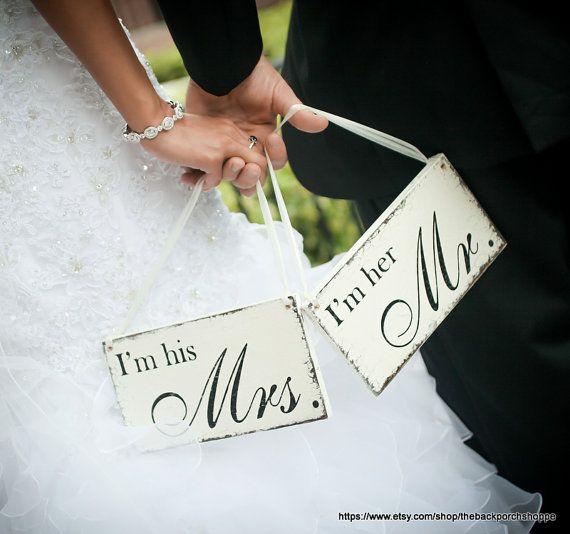 Wie süß...    Ich bin ihr Mr. & Ich bin seine Frau meldet sich auf dem Rücken Ihrer Stühle an Ihren Probeessen, Hochzeit oder Rezeption