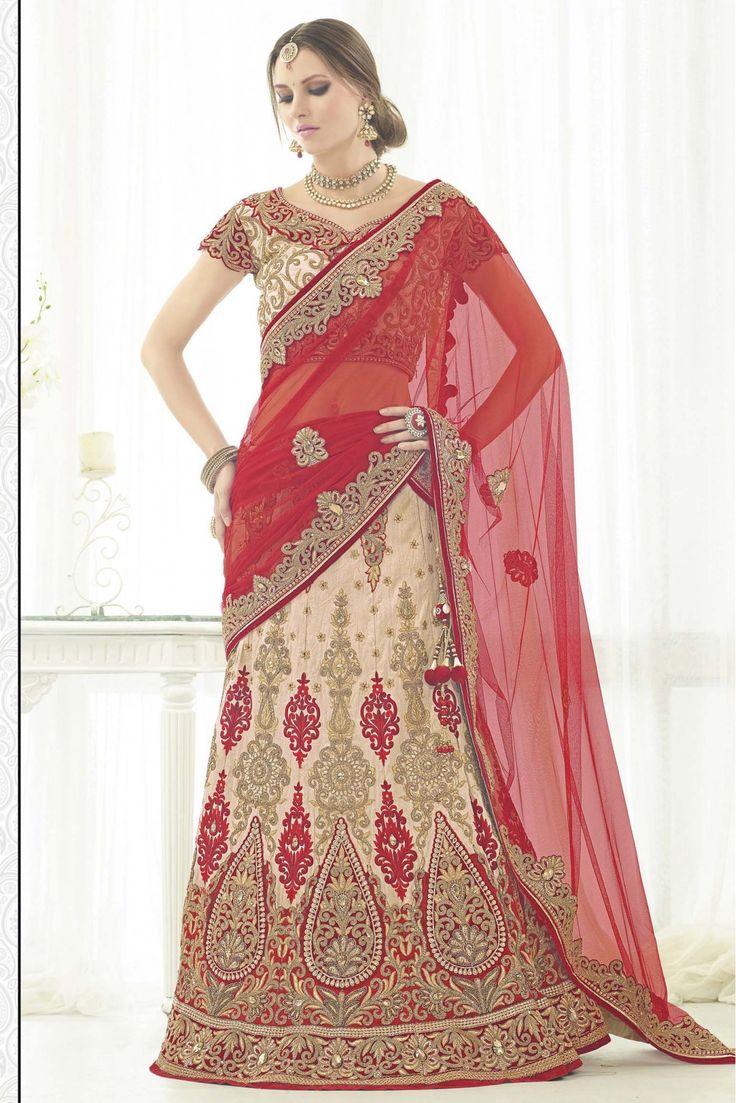 Net Bridal Wear Lehenga Choli In Beige Colour