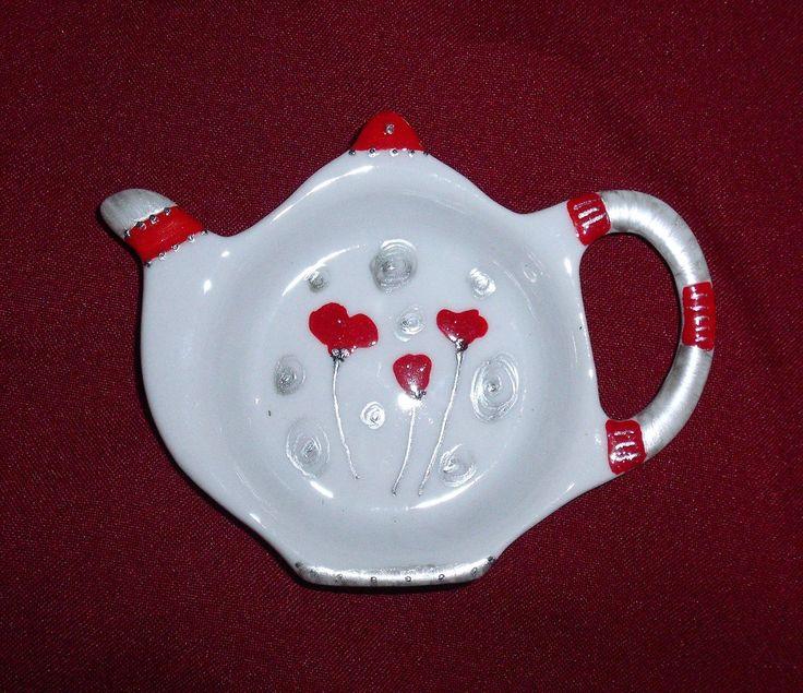 """Depose sachet de thé, en forme de théière, motif """"coquelicots"""""""