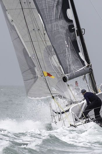 The class 40 yacht 'Roaring Forty 2' racing in the Solent during Cowes Week.
