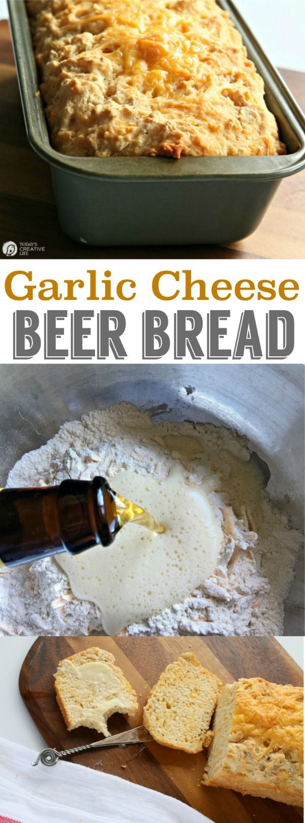 Beer Bread Recipe with Garlic and Cheese | This Garlic cheese beer bread is delicious! This easy recipe is great with salads, or alone. Make it with craft microbrew or regular beer. Click on the photo for the recipe. TodaysCreativeLife.com