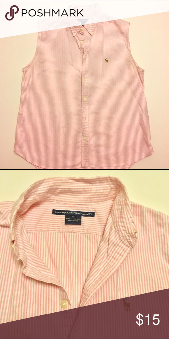 Ralph Lauren Sleeveless Oxford Button Down Ralph Lauren Sport Women's sleeveless oxford button down shirt with pink and white stripes. Ralph Lauren Tops Button Down Shirts