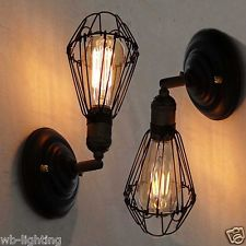 Black Metal Industrial DIY Wall Lamp Adjustable Wall Light Fitting LED Bulb