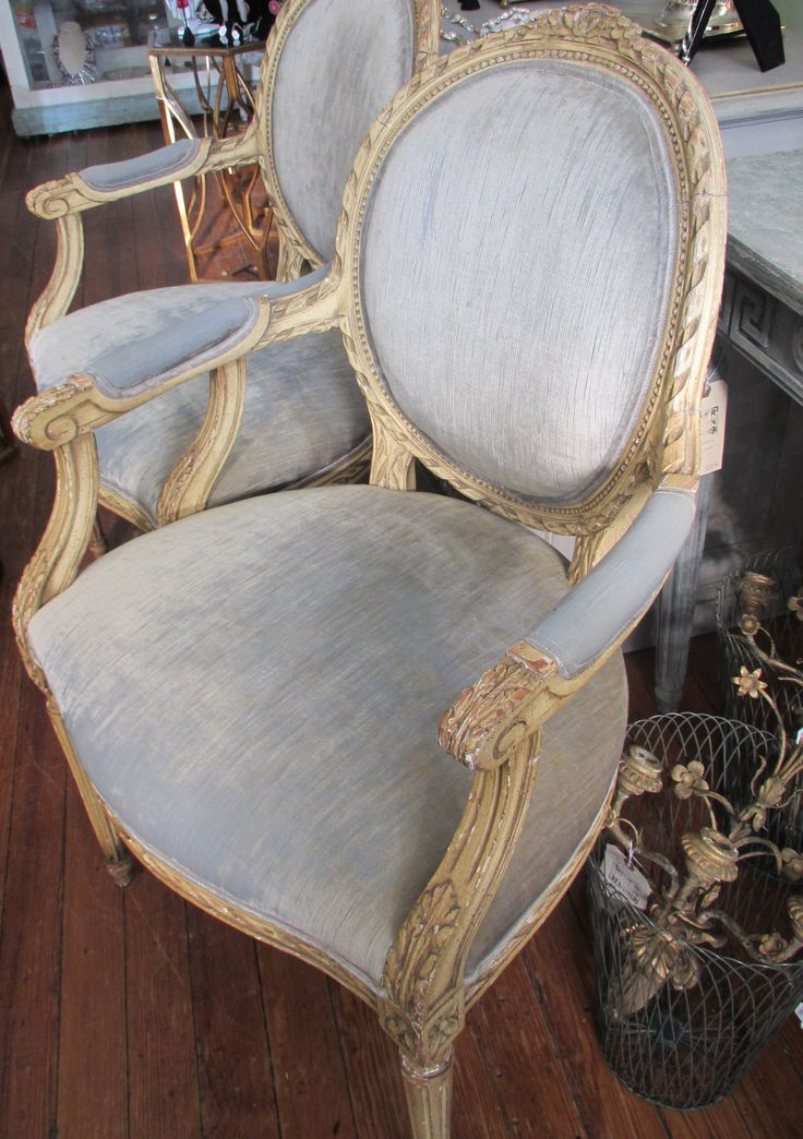 French Chairs With Worn Velvet Upholstery At Silver Moon Studio Antiques