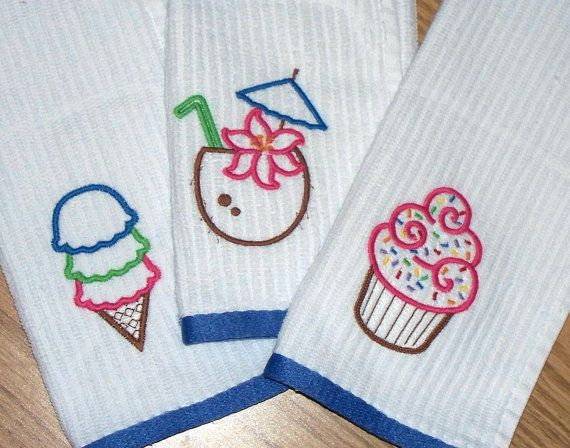 Ice Cream Cupcake Coconut Drink / Embroidered Kitchen Hand Dish Towel Set -  Summer Treats /