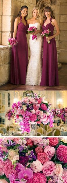 bridesmaid dress,maid of honor dresses,best bridesmaid dresses,long bridesmaid dresses,Fuchsia hot pink wedding color ideas,
