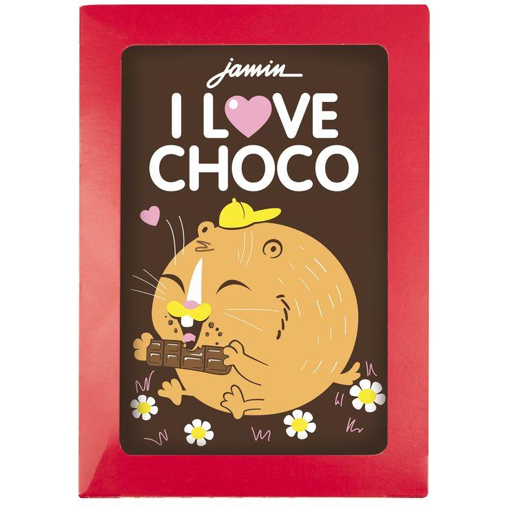 """Wenskaart """"I love Choco""""  Description: Chocolade wenskaart met de tekst ''I Love Choco''. De wenskaarten zijn gemaakt van UTZ chocolade en er is uitsluiten gebruik gemaakt van natuurlijke kleurstoffen.  Price: 4.00  Meer informatie  #Jamin"""