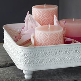 Pentik ..pretty..white stenciled candles?