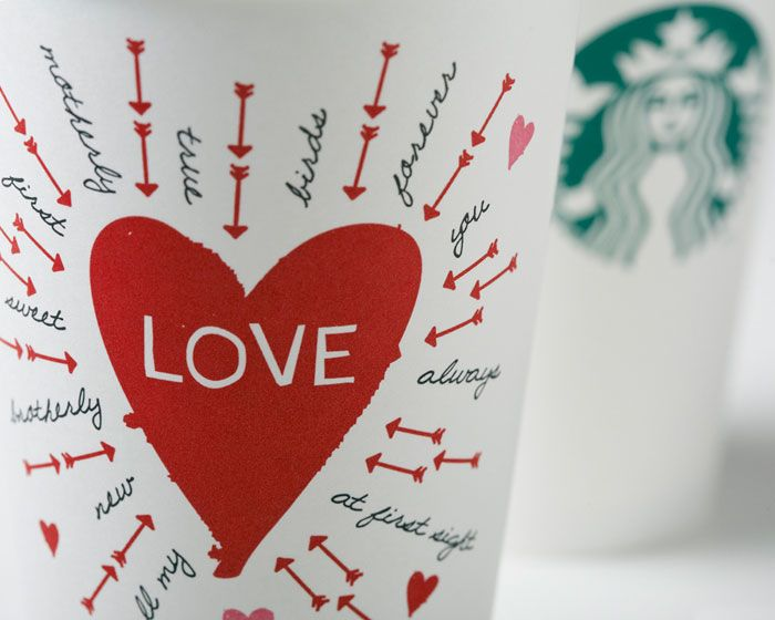 Starbucks Valentine's Day Cups  A sweet cup that doubles as an interactive Valentine.