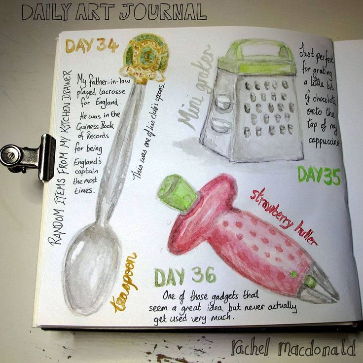Daily Art journal. 365 day art project. Sketchbook diary paintings of random objects from my kitchen drawer.  I love little spoons - this was one of my father-in-law's from his time as England lacrosse captain.