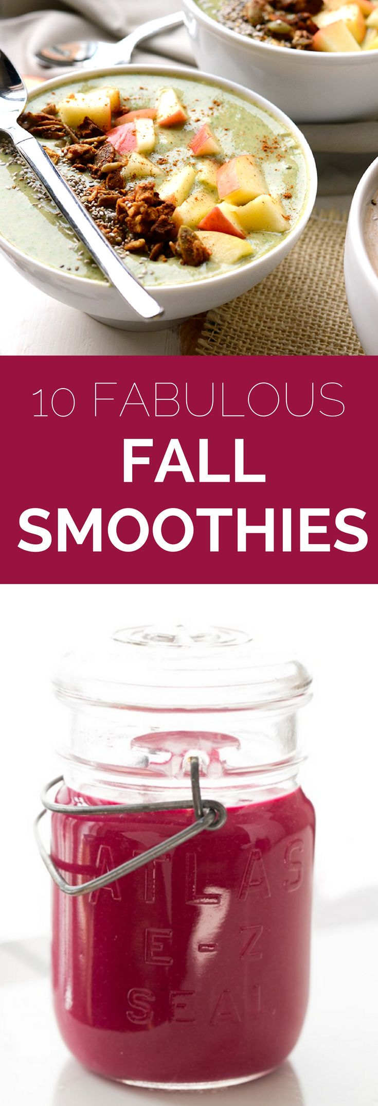 So long, tropical flavors! It's time to upgrade your smoothie to reflect the season. We've got 10 refreshing smoothie recipes to to help you savor fall. // spryliving.com