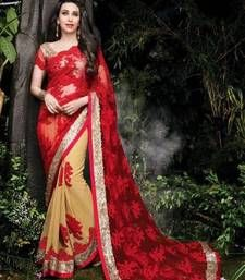 Buy red and chikoo embroidered net and chiffon half and half reception saree with blouse bollywood-saree online