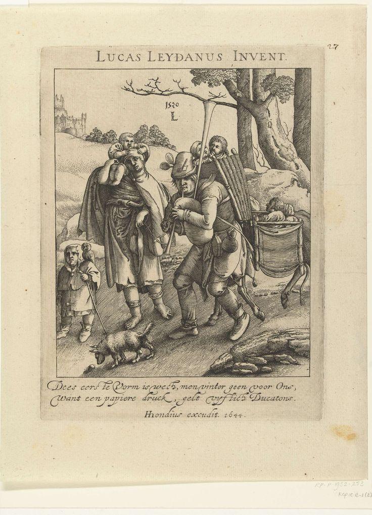 Anonymous   Uilenspiegel: de bedelaarsfamilie, Anonymous, Hendrick Hondius (I), 1644   Doedelzakspelende man met twee kinderen in de mand op zijn rug, naast hem een vrouw met een kind op de schouder. Zij voeren een ezel mee, beladen met kinderen. Voorop loopt een jongen met een uil op de schouder, naast hem snuffelt een hondje. Boven voorstelling tekst: Lucas Leydanus Invent. Onder de voorstelling twee regels in het Nederlands, naam van de uitgever en jaartal.