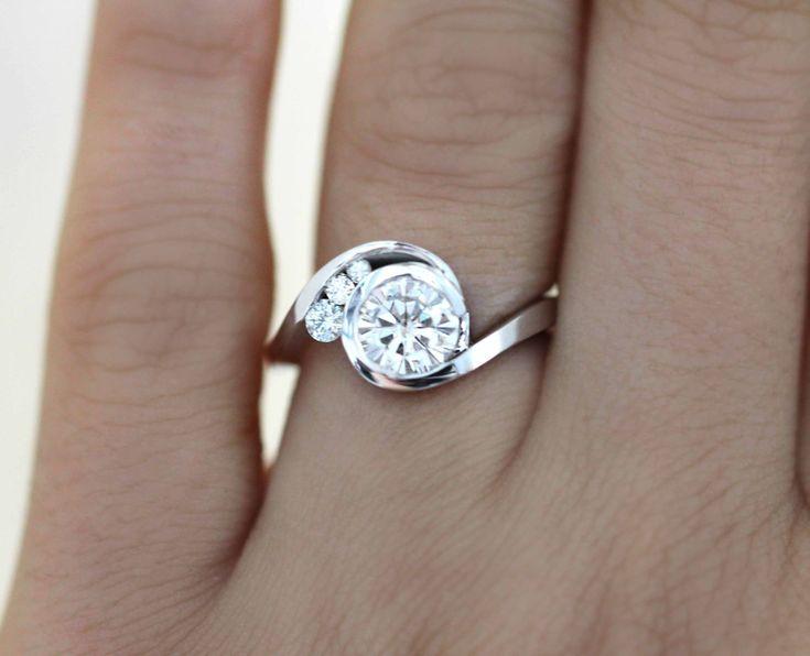 White Gold Round Diamond Engagement Ring, Round Engagement Ring, Unique Engagement Ring, Bypass Engagement Ring, Bypass Diamond Ring by Bambinojeweler on Etsy