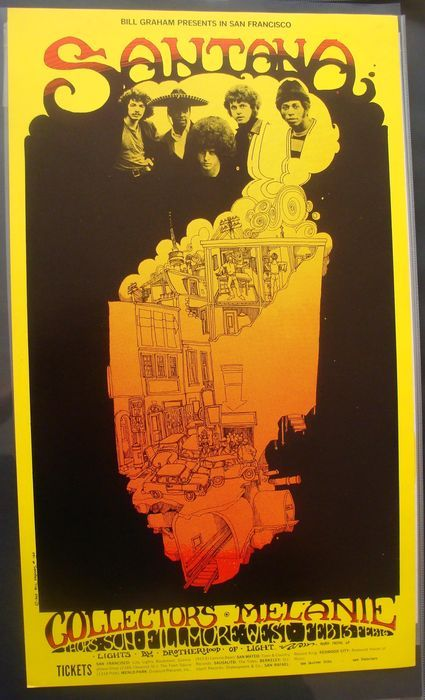 Santana Live at the Fillmore West 1969 Fillmore Poster San Francisco - W.B.