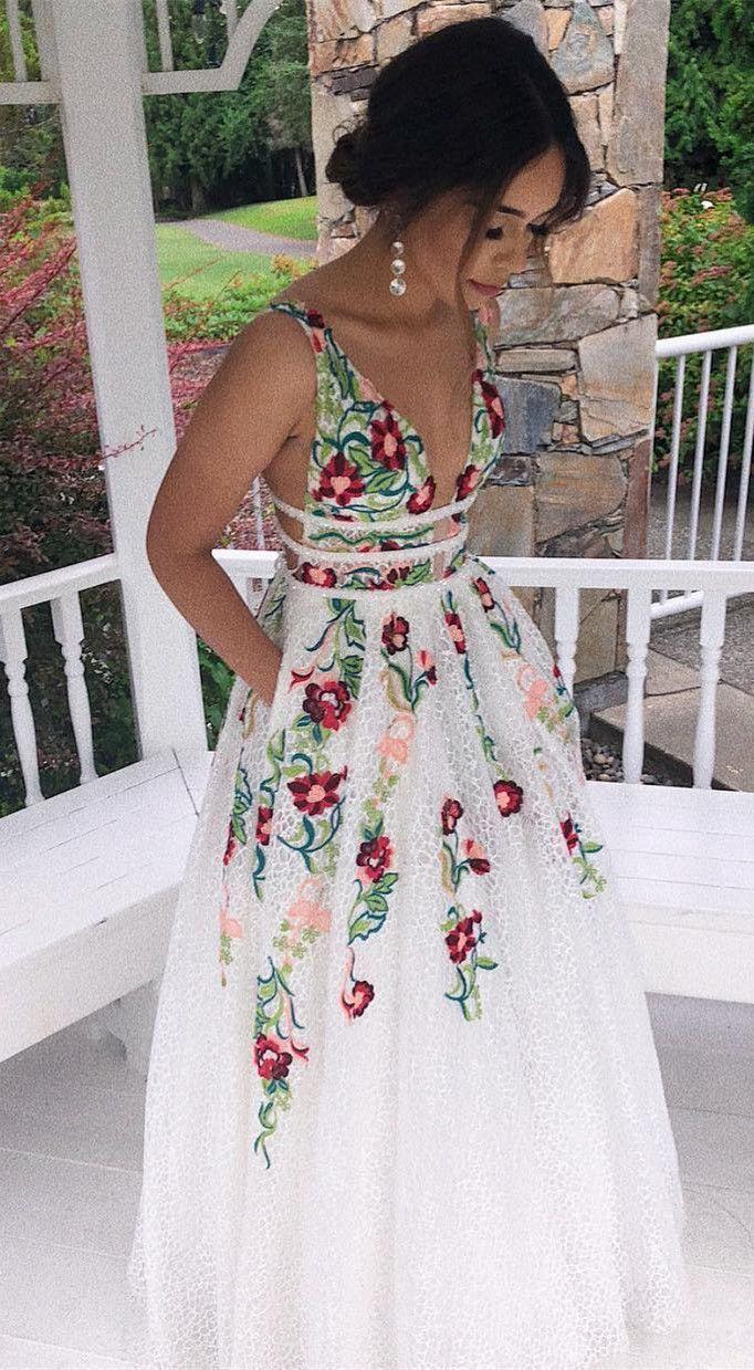 Princess V Neck Floral Embroidery Long Prom Dress …