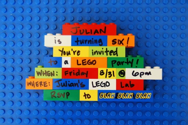 Cute Lego party invitation #lego #invitation....you can do this n take a picture of it n give out to everybody !!!!
