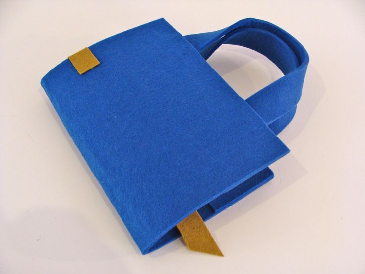 Sac à livre en feutre : liseuse, protège livre - bleu et vert