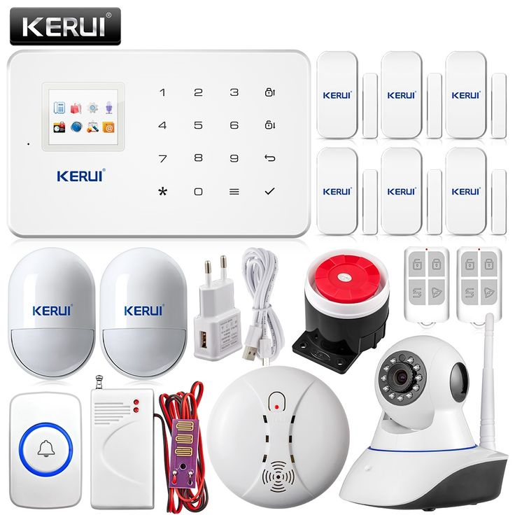 (130.65$)  Buy here  - G18 Android IOS App control Wireless GSM Home security Alarm System Panic Button doorbell+wifi camera+smoke water leak detector