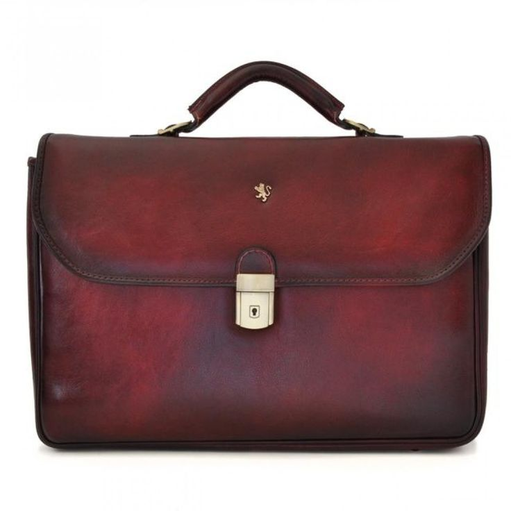 Chianti Men's leather briefcase by Pratesi. Made in Italy.
