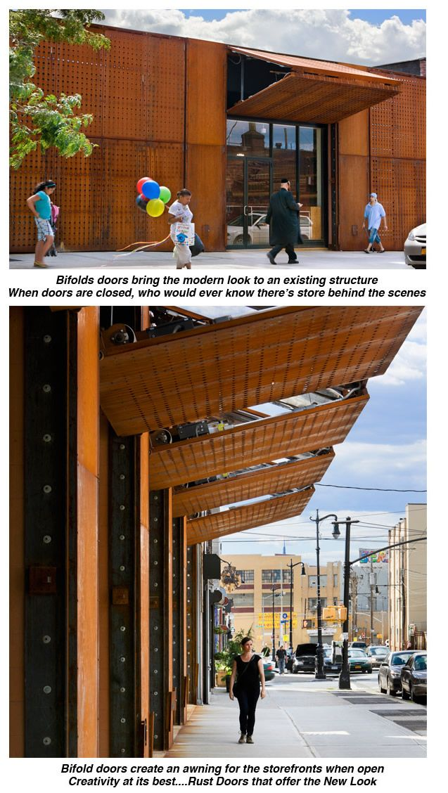 perforated metal rusted metal storefront... hydraulic bi-folding doors open to create awning