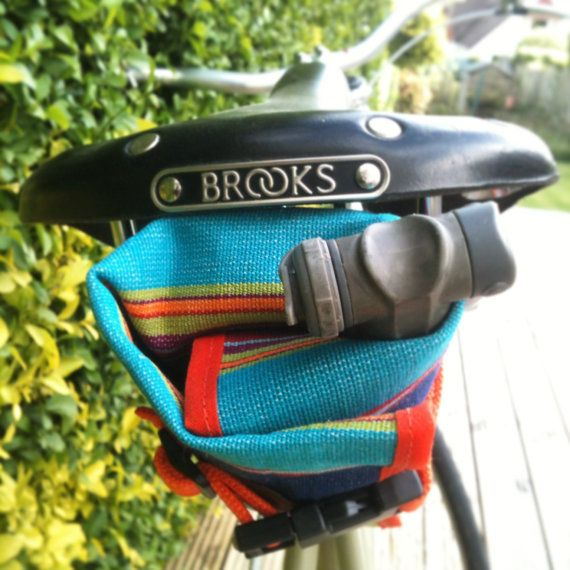 Waxed canvas bicycle tool roll, saddle bag, accessory and tool pouch, Multi coloured stripe.