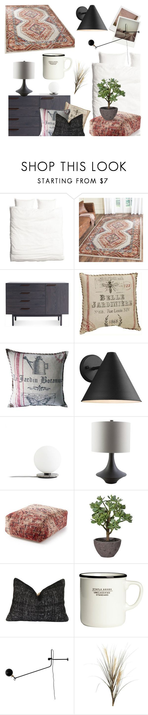 """""""Modern French Country Bedroom"""" by jill-bh ❤ liked on Polyvore featuring interior, interiors, interior design, home, home decor, interior decorating, H&M, Blu Dot, Sea Gull Lighting and Menu"""