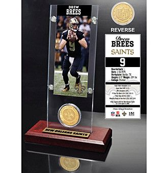 NFL® New Orleans Saints Drew Brees Ticket & Bronze Coin Desktop Acrylic