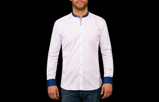 Chemise homme blanche col Mao bleu flower edge, Chemises cintrées - Chemise Homme