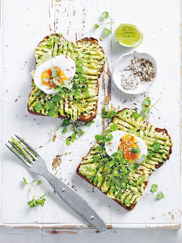 smashed avocado toast with soft-boiled egg