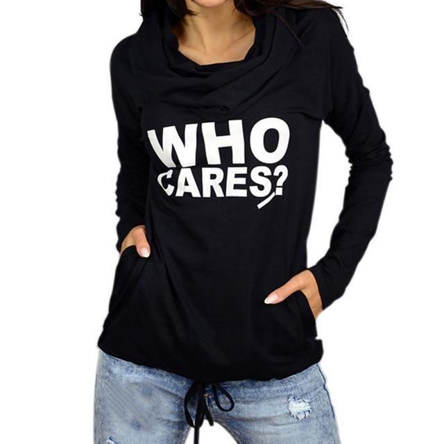 Women Hoodie Casual Hooded Print Letter Pocket Long Sleeve Pullover For Women Sweatshirt Hoodies Plus Size 5 WS5729M Black S