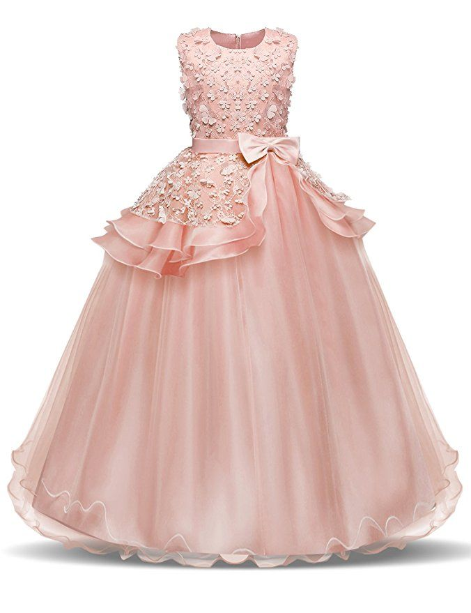 4a25bff974ea NNJXD Girl Sleeveless Embroidery Princess Pageant Dresses Kids Prom ...