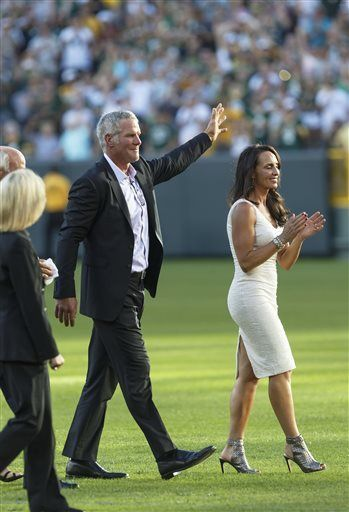 ~ Brett Favre with his wife, Deanna Favre, returns to Lambeau Field for Packers Hall of Fame. July, 2015. You did us proud! ~